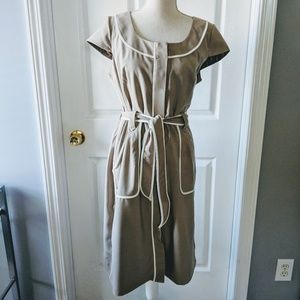 Dressbarn Khaki Button Up Dress with Belt